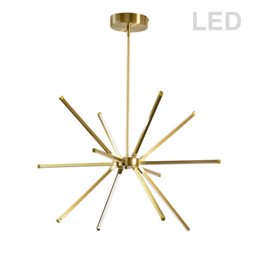 Dainolite Lighting  ARY-2032LEDC-AGB 32 Watt LED Chandelier Aged Brass w/ White Acrylic Diffuser