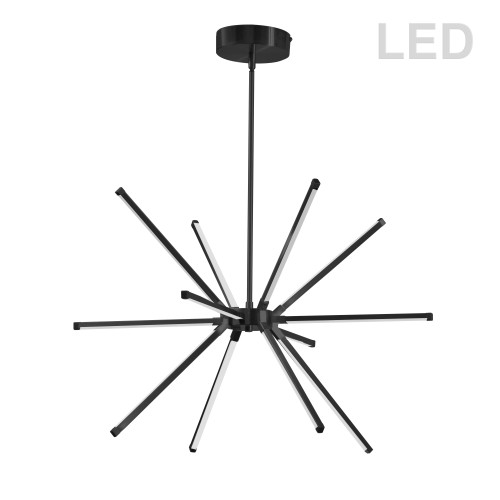 Dainolite Lighting  ARY-2032LEDC-MB 32 Watt LED Chandelier Matte Black w/ White Acrylic Diffuser