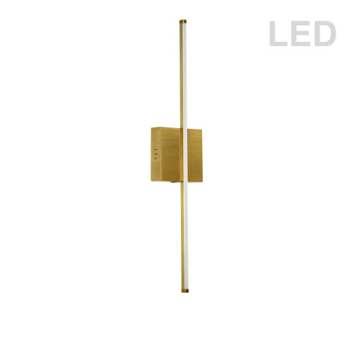 Dainolite Lighting  ARY-2519LEDW-AGB 19W LED Wall Sconce, Aged Brass with White Acrylic Diffuser