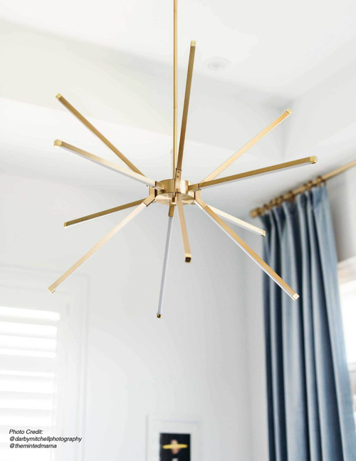 Dainolite Lighting  ARY-3260LEDC-AGB 60W LED Chandelier, Aged Brass with White Acrylic Diffuser