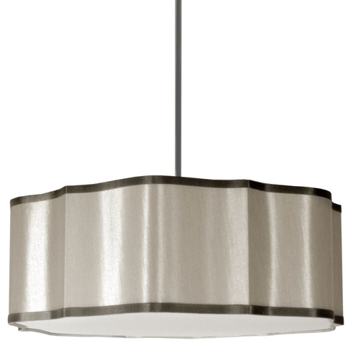 Dainolite Lighting  ATS-234P-837 4 Light Petal Pendant, 837 Pebble Fabric With 834 Steel Trim