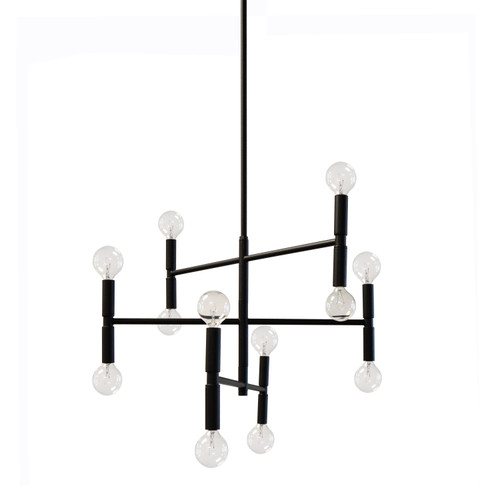 Dainolite Lighting  AVA-2012C-MB 12 Light Incandescent Chandelier Matte Black Finish