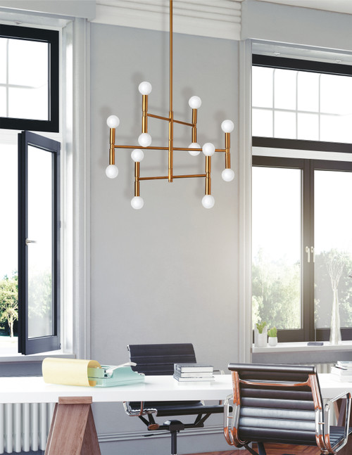 Dainolite Lighting  AVA-2012C-VB 12 Light Chandelier, Vintage Bronze Finish