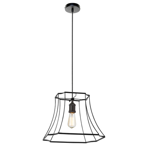 Dainolite Lighting  BKO-1L-BK 1LT Metal Black Framed Pendant