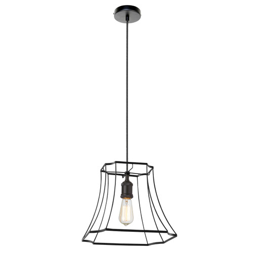 Dainolite Lighting  BKO-1M-BK 1LT Metal Black Framed Pendant