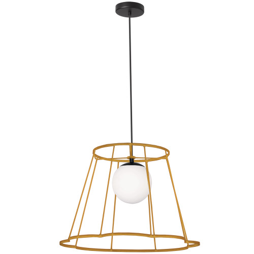 Dainolite Lighting  BKO-71P-GLD 1 Light Belenko Metal Gold Framed Pendant White Glass