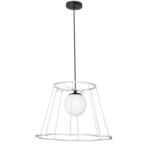 Dainolite Lighting  BKO-71P-WH 1 Light Belenko Metal White Framed Pendant White Glass