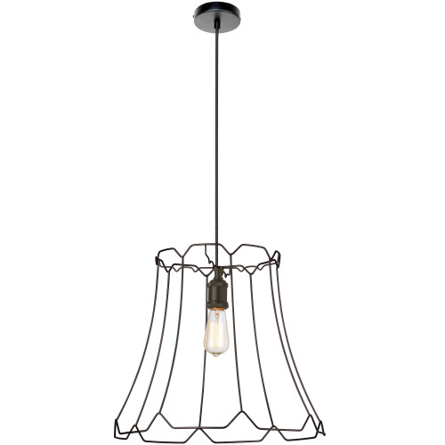 Dainolite Lighting  BKO-L-BK 1 Light Metal Framed Pendant, Large Matte Black Finish