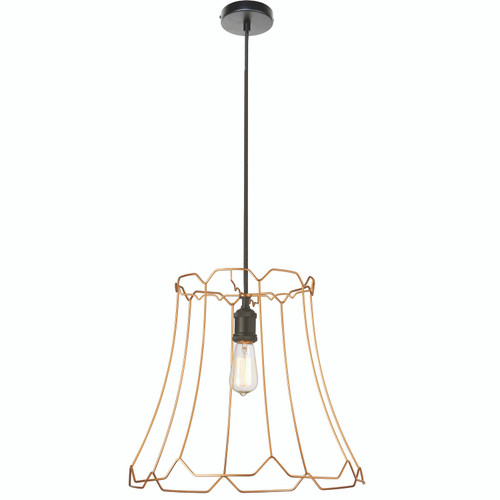 Dainolite Lighting  BKO-L-GLD 1 Light Metal Framed Pendant, Large Gold Finish