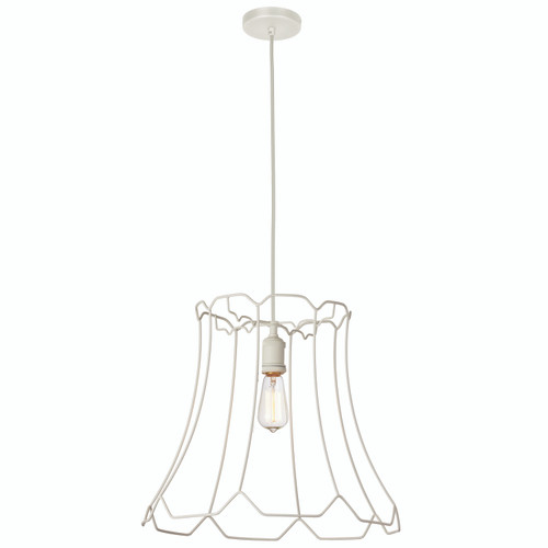 Dainolite Lighting  BKO-L-WH 1 Light Metal Framed Pendant, Large Matte White Finish