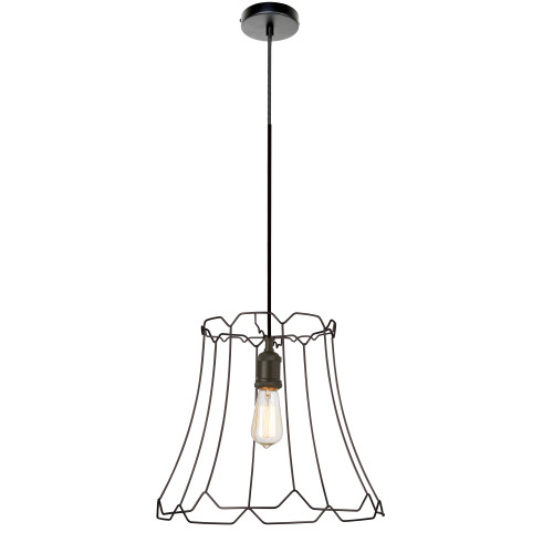 Dainolite Lighting  BKO-M-BK 1 Light Metal Framed Pendant, Medium Matte Black Finish