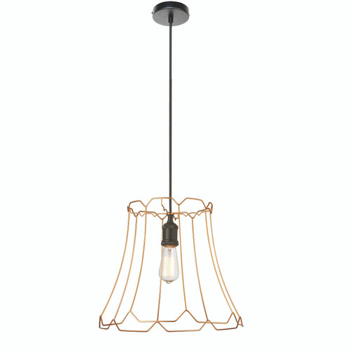 Dainolite Lighting  BKO-M-GLD 1 Light Metal Framed Pendant, Medium Gold Finish