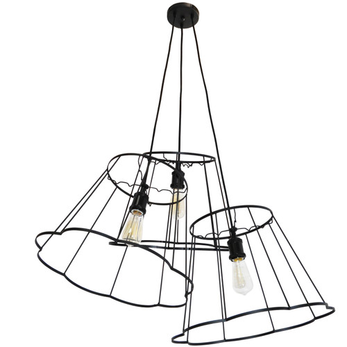 Dainolite Lighting  BKO-MULTI-BK 3 Light Incandescent Metal Black Framed Multi Pendant