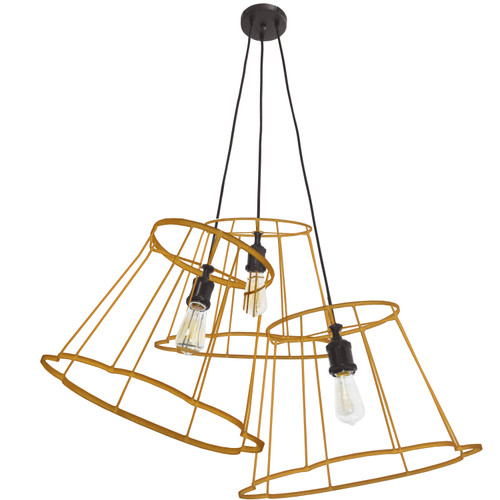 Dainolite Lighting  BKO-MULTI-GLD 3 Light Incandescent Metal Gold Framed Multi Pendant