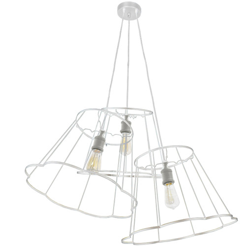 Dainolite Lighting  BKO-MULTI-WH 3 Light Incandescent Metal White Framed Multi Pendant