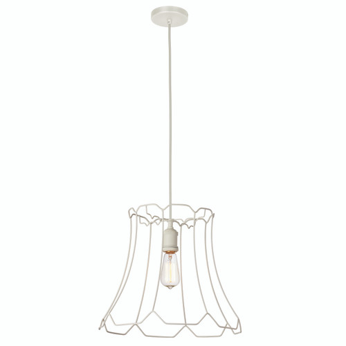 Dainolite Lighting  BKO-M-WH 1 Light Metal Framed Pendant, Medium Matte White Finish