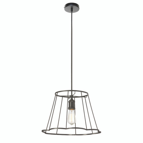 Dainolite Lighting  BKO-S-BK 1 Light Metal Framed Pendant, Small Matte Black Finish