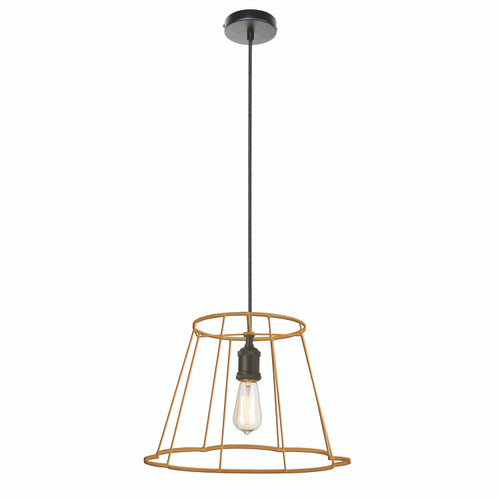 Dainolite Lighting  BKO-S-GLD 1 Light Metal Framed Pendant, Small Gold Finish
