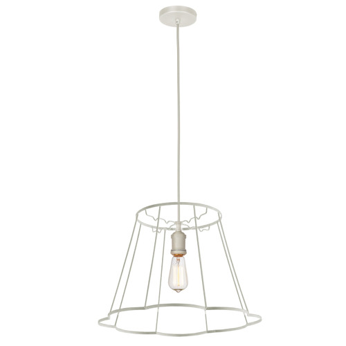 Dainolite Lighting  BKO-SM-WH 1LT Metal White Framed Pendant
