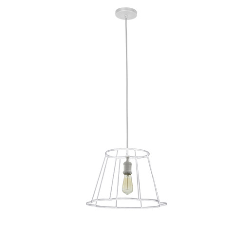 Dainolite Lighting  BKO-S-WH 1 Light Metal Framed Pendant, Small Matte White Finish