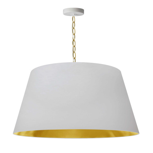 Dainolite Lighting  BRY-L-AGB-692 1 Light Brynn LG Pendant, White/Gold Shade, Aged Brass