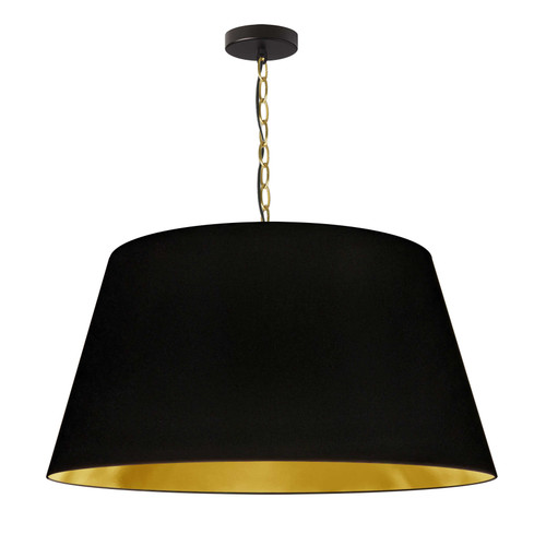 Dainolite Lighting  BRY-L-AGB-698 1 Light Brynn LG Pendant, Black/Gold Shade, Aged Brass