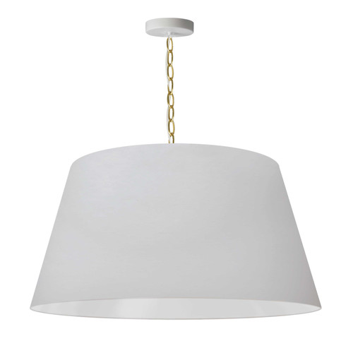 Dainolite Lighting  BRY-L-AGB-790 1 Light Brynn Large Pendant, White Shade, Aged Brass