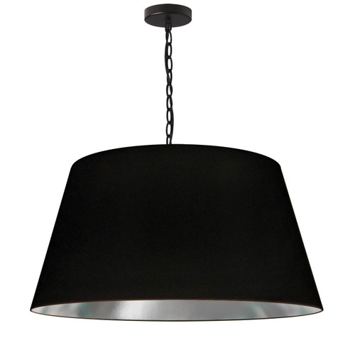 Dainolite Lighting  BRY-L-BK-697 1 Light Brynn Large Pendant, Black/Silver Shade, Black