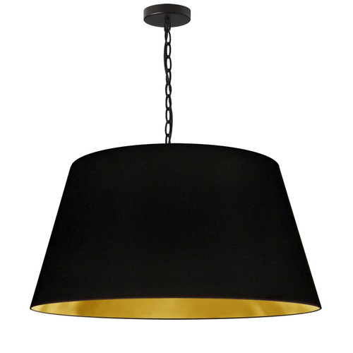 Dainolite Lighting  BRY-L-BK-698 1 Light Brynn Large Pendant, Black/Gold Shade, Black