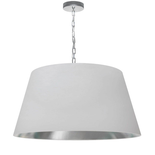 Dainolite Lighting  BRY-L-PC-691 1 Light Brynn Large Pendant, White/Silver Shade, Polished Chrome