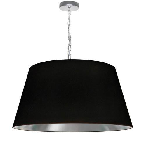 Dainolite Lighting  BRY-L-PC-697 1 Light Brynn Large Pendant, Black/Silver Shade, Polished Chrome