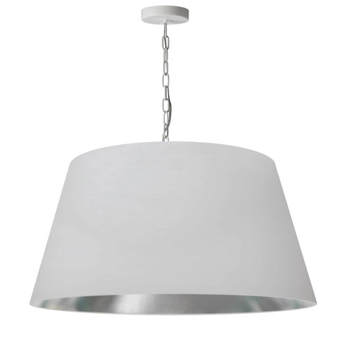 Dainolite Lighting  BRY-L-WH-691 1 Light Brynn Large Pendant, White/Silver Shade, White