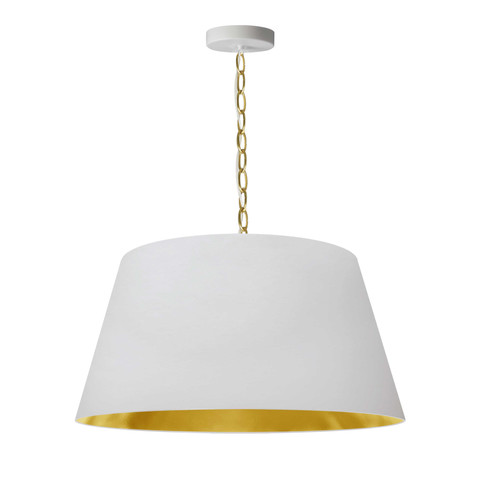 Dainolite Lighting  BRY-M-AGB-692 1 Light Brynn Medium Pendant, White/Gold Shade, Aged Brass