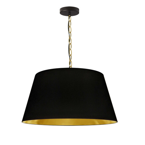 Dainolite Lighting  BRY-M-AGB-698 1 Light Brynn Medium Pendant, Black/Gold Shade, Aged Brass