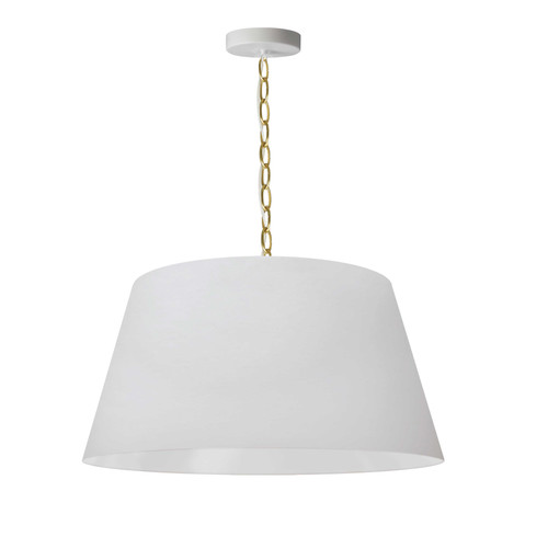 Dainolite Lighting  BRY-M-AGB-790 1 Light Brynn Medium Pendant, White Shade, Aged Brass