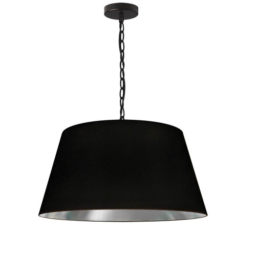 Dainolite Lighting  BRY-M-BK-697 1 Light Brynn Medium Pendant, Black/Silver Shade, Black