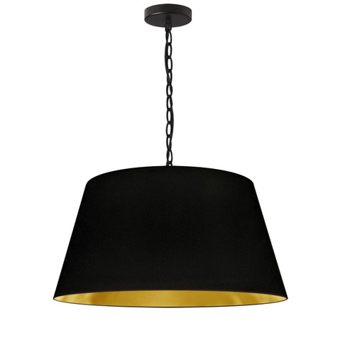 Dainolite Lighting  BRY-M-BK-698 1 Light Brynn Medium Pendant, Black/Gold Shade, Black
