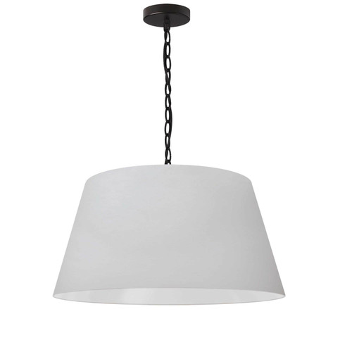 Dainolite Lighting  BRY-M-BK-790 1 Light Brynn Medium Pendant, White Shade, Black