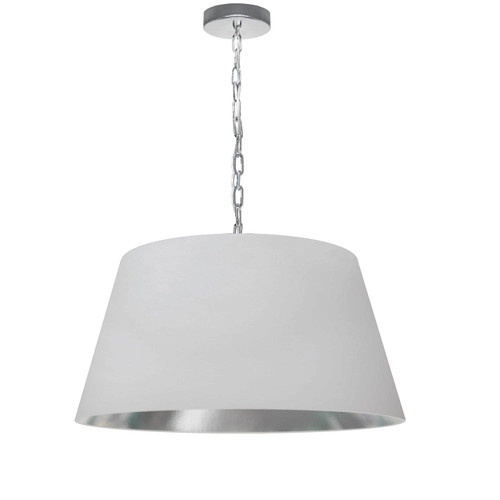 Dainolite Lighting  BRY-M-PC-691 1 Light Brynn Medium Pendant, White/Silver Shade, Polished Chrome