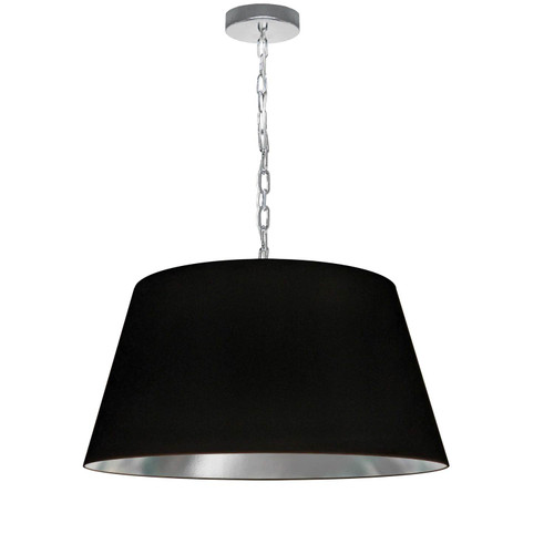 Dainolite Lighting  BRY-M-PC-697 1 Light Brynn Medium Pendant, Black/Silver Shade, Polished Chrome