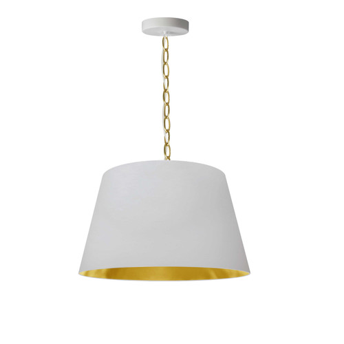 Dainolite Lighting  BRY-S-AGB-692 1 Light Brynn Small Pendant, White/Gold Shade, Aged Brass