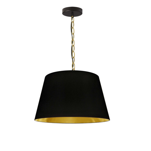 Dainolite Lighting  BRY-S-AGB-698 1 Light Brynn Small Pendant, Black/Gold Shade, Aged Brass