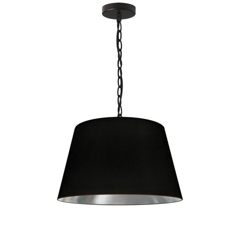 Dainolite Lighting  BRY-S-BK-697 1 Light Brynn Small Pendant, Black/Silver Shade, Black