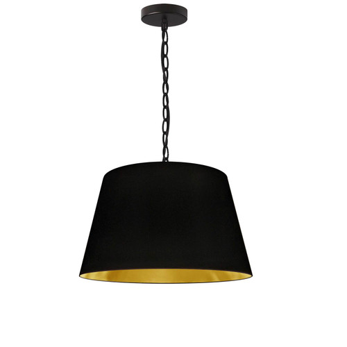 Dainolite Lighting  BRY-S-BK-698 1 Light Brynn Small Pendant, Black/Gold Shade, Black