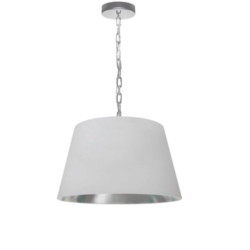 Dainolite Lighting  BRY-S-PC-691 1 Light Brynn Small Pendant, White/Silver Shade, Polished Chrome