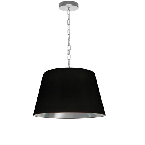Dainolite Lighting  BRY-S-PC-697 1 Light Brynn Small Pendant, Black/Silver Shade, Polished Chrome