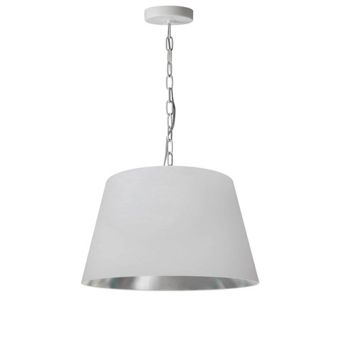 Dainolite Lighting  BRY-S-WH-691 1 Light Brynn Small Pendant, White/Silver Shade, White