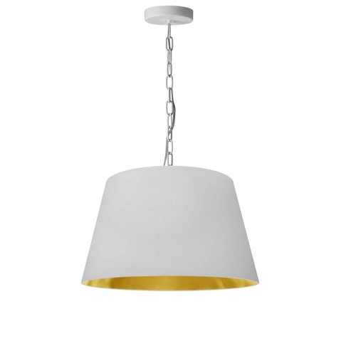 Dainolite Lighting  BRY-S-WH-692 1 Light Brynn Small Pendant, White/Gold Shade, White
