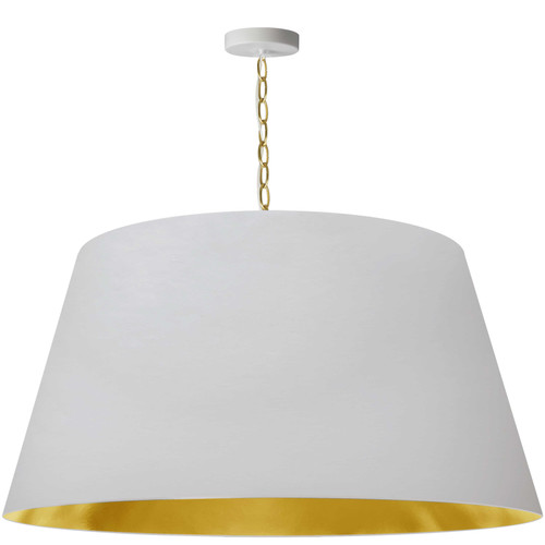 Dainolite Lighting  BRY-XL-AGB-692 1 Light Brynn Extra Large Pendant, White/Gold Shade, Aged Brass
