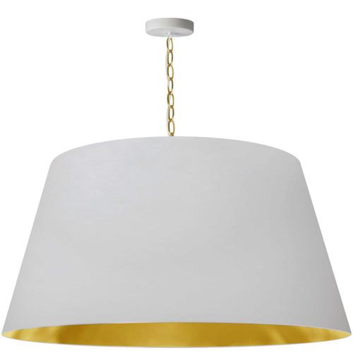 Dainolite Lighting  BRY-XL-AGB-692 1 Light Brynn Extra Large Pendant, White/Gold Shade, Aged Brass